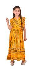 Flower Girl Girls Printed Dress , Mustard - KFGS201529P2