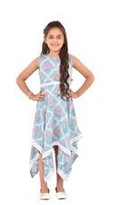 Flower Girl Girls Printed Dress , Teal - KFGS201534P1