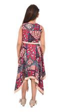 Flower Girl Girls Printed Dress , Red/Mutli - KFGS201534P2