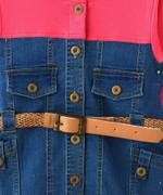 Flower Girl Girls Hoodie Dress , Denim Blue/Coral - MCGAW209075