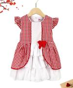 Smart Baby Baby Girl Party Dress , Red/White - GEGS2120101