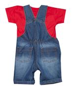 Little Kangaroos Baby Boy Denim Dungaree With Top , Dark Blue/Red - ROGS2019045A