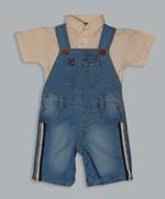 Little Kangaroos Baby Boys Polo T-shirt With Dungaree Set , Denim/Cream - ROGS2019044A