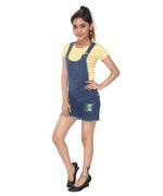 Flower Girl Girls T-shirt With Denim Dungaree Set , Yellow/Dark Blue - MCGS201705