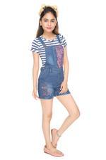 Flower Girl Girls T-shirt With Denim Dungaree Set , Navy/Denim Blue - MCGS201713