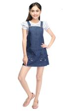 Flower Girl Girls T-Shirt With Denim Dungaree Set,White/Denim Blue-MCGSS21D109