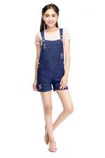 Flower Girl Girls T-Shirt With Denim Dungaree Set,Multi/Navy Blue-MCGSS21D107