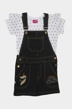 Flower Girl Girls T-Shirt With Denim Dungaree Set,White/Charcoal Black-MCGSS21D108