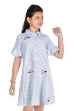 Flower Girl Girls Woven Striper Frock,Blue/White -MCG831