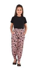Flower Girl Girls Printed Harem Pants,Black/Peach- KFGS201580P2