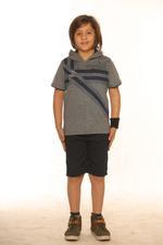 Nexgen Juniors Boys Hooded T-Shirt , Grey Melange- SSG17161