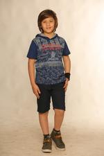 Nexgen Juniors Boys Hooded T-Shirt , Indigo - SSG17164