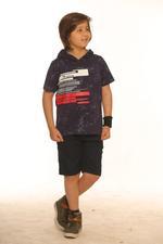 Nexgen Juniors Boys Hooded T-Shirt , Navy - SSG17163