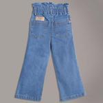 Little Kangaroos Girls Paperbag Denim Pants,Light Blue-ROGSS21PL2179C