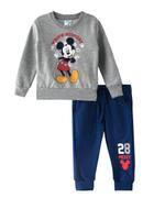 Mickey Mouse Boys Sweatshirt With Jogger Set,Grey Melange/Navy Blue-TCGLAW2114286