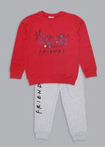 Friends Girls Sweatshirt With Jogger Set,Pink/Light Melange-TCGLAW2114329