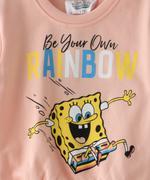 Sponge Bob Girls Sweatshirt With Jogger Set,Dark Peach-TCGLAW2114320