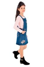 Genius Girls Knit Tee With Jumper,White/Denim Blue -MCG1131