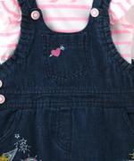 Smart Baby Baby Girl Top With Denim Jumper Set , Pink/Dark Blue - MCGSS201823