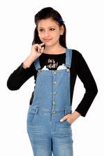 Flower Girl Girls Denim Jumpsuit with Tee, Black/Denim Blue-MCGD506