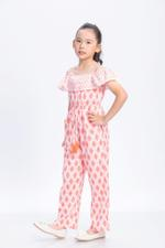 Flower Girl Girls Jumpsuit,White & Orange-GEG1801110