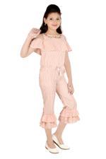 Flower Girl Girls Slylish Jumpsuit,Peach/White-MCG351G19