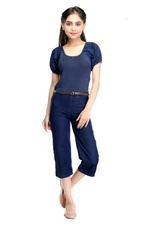 Flower Girl Girls Denim Jumpsuit,Navy Blue-MCGSS21D113