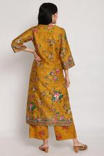 Biba Women Mustard Cotton Straight Kurta,BG16082MUST36