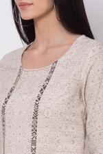 Biba Cotton Flax A Line Kurta, Sand Brown, BG15527SBRN