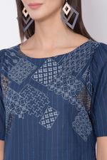 Biba Cotton Straight Kurta,Indigo,BG15509IND