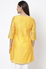 Biba Women Yellow Poly Cotton Short Kurti,BG16348YEL40