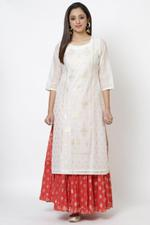Biba Women Red Art Silk Kurti,BG16337OWHT46