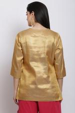 Biba Women Poly Metallic Kurti,Golden,BG16349GLD36