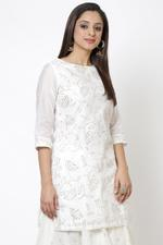 Biba Women Off White Poly Cotton Short Kurti,BG16348OWHT36