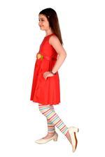Genius Girls Tunic Dress With Lining Legging Set , Coral Red/Multi - MCGSS218390