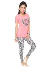 Genius Girls Tunic Top With Printed Legging Set , Pink/Multi - MCGSS218410