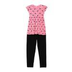 Genius Girls Dress With Legging Set , Dark Pink/Black - HDGLSS212209