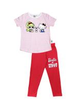 Barbie & Hello Kitty Girls T-Shirt With Legging Set, Light Pink / Ruby Red -HWGLS21BHK04A