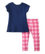 Genius Girls T-shirt With Legging Set , Navy/Coral - MCGSS218030