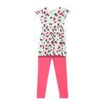 Genius Girls Dress With Legging Set , Fuschia/White - HDGLSS212206