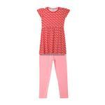 Genius Girls Dress With Legging Set , Red/Pink - HDGLSS212238