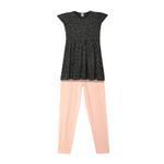 Genius Girls Dress With Legging Set , Black/Pink - HDGLSS212241