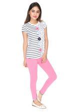 Genius Girls T-shirt With Legging Set , White/Dark Pink - MCGSS218020