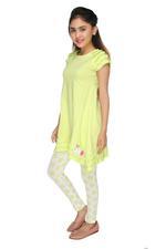 Genius Girls Dress With Legging Set , Green Apple - MCGSS218380