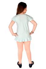 Genius Girls Tunic Top With Lining Legging Set , Mint/Peach - MCGSS218110