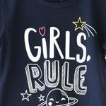 Voov Girls T-shirt With Pajama Set, Navy - HDGLGPJ33C