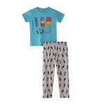 Voov Girls T-shirt With Pajama Set, Mint/Melange - HDGLGPJ34B