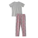 Voov Girls T-shirt With Pajama Set, Grey Melange/Multi - HDGLGPJ36A