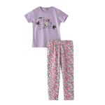 Voov Girls T-shirt With Pajama Set, Purple/Multi - HDGLGPJ36C