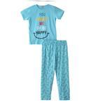 Voov Girls T-shirt With Pajama Set, Sky Blue - HDGLGPJ39B